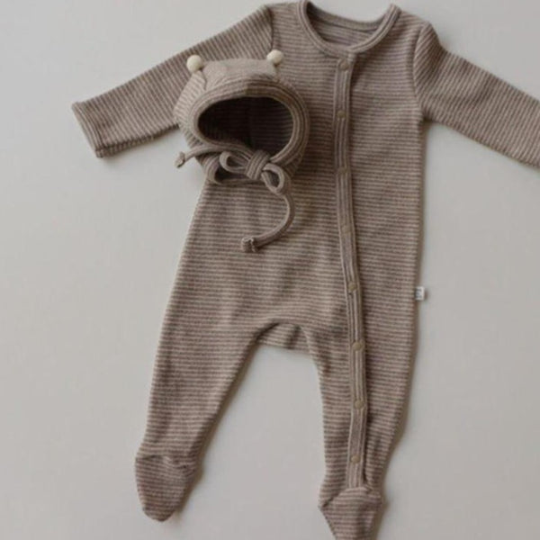 Rory Striped Romper and Bonnet Set (Toffee Beige)