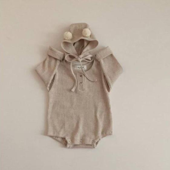 Ludo Waffle Cotton Romper and Bonnet Set (Oat)