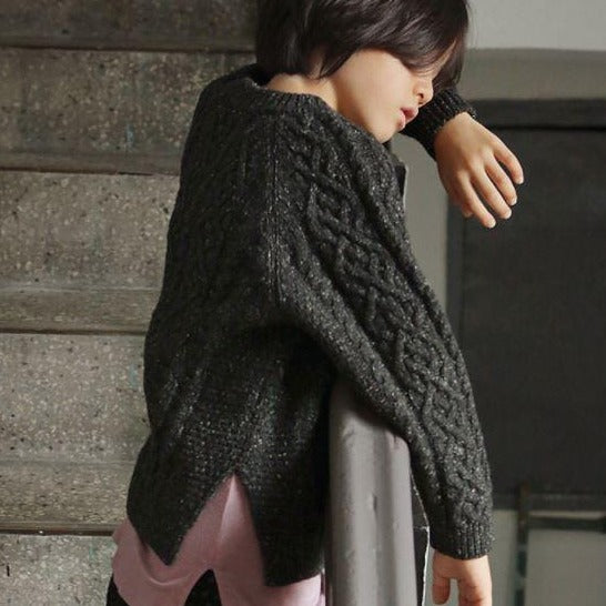 Stitch Cable Knit Speckle Jumper (Charcoal)