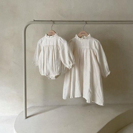 Emma Frill Collar Romper Suit (Ivory)