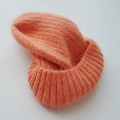 Angora Fluffy Ribbed Beanie (Peach)