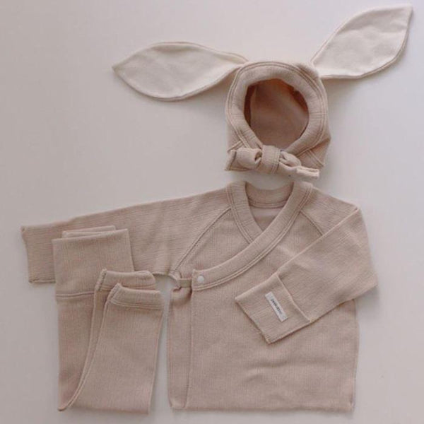 Bonnie Top, Leggings and Bunny Bonnet Set (Beige)