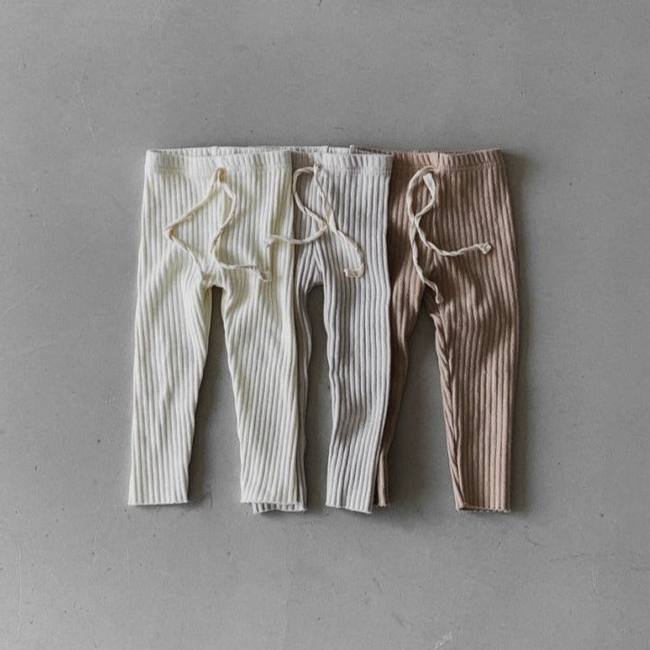 Dora Ribbed Cotton Leggings (Cream)