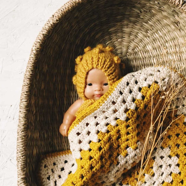 Knitted Romper and Bonnet Set for Miniland Doll (Mustard)