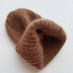 Angora Fluffy Ribbed Beanie (Hazelnut)
