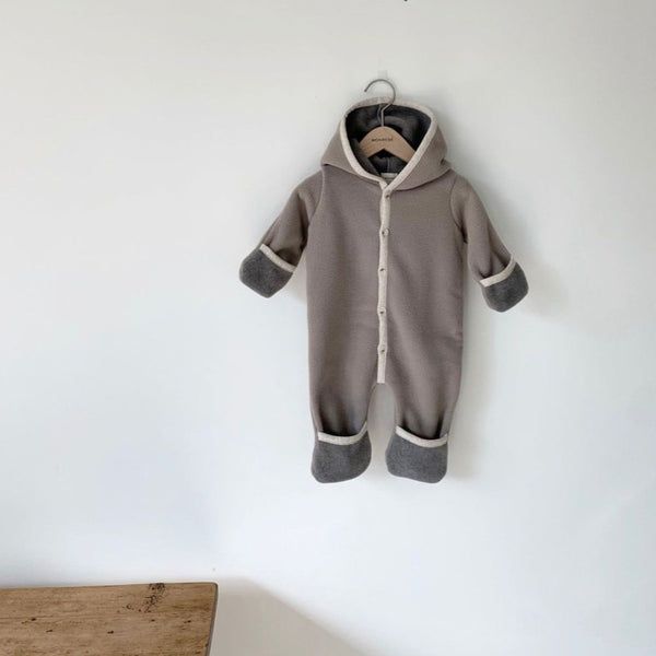 Handmade Fleece Foldable Cuff Romper Coat Pramsuit (Mocha)
