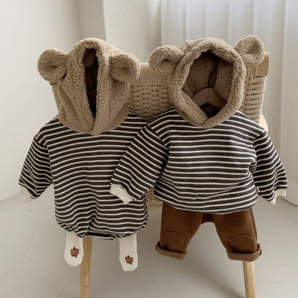 Bear Ear Stripe Hoody Top