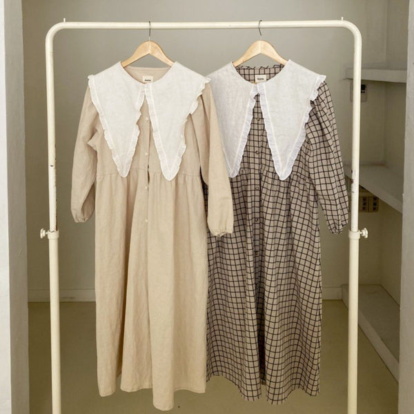 MAMA Clara Collared Button-Up Dress (Beige)