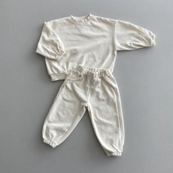 Ziggy Tracksuit Sweatshirt and Bottoms Set (Ivory)
