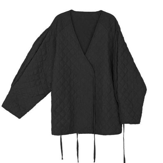 MAMA Kimono Padded Button Wrap Jacket (Black)