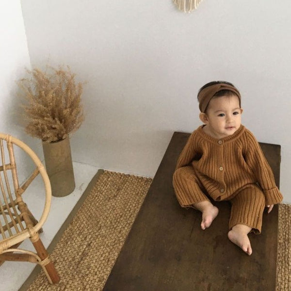 Xavi Rib Kit Button Rib Romper (Toffee)