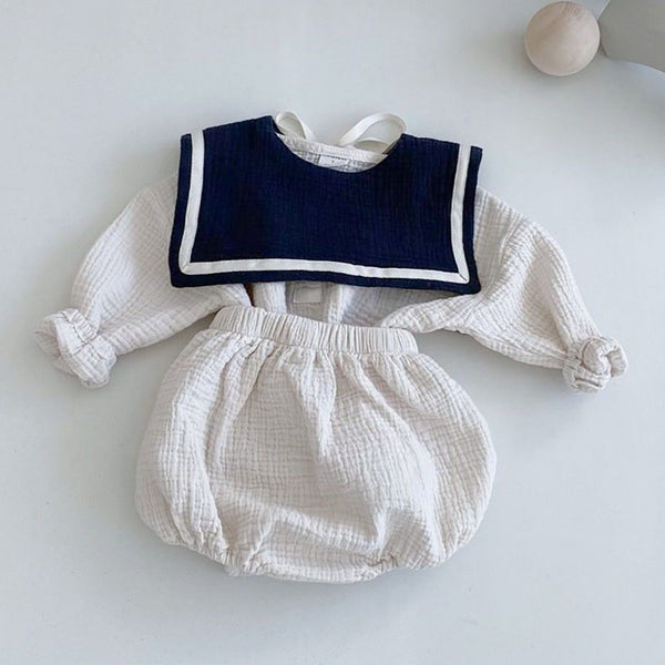 Finn Sailor Cotton Top and Bloomer Set (Cream)