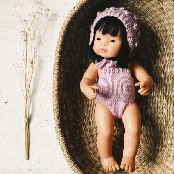 Knitted Romper and Bonnet Set for Miniland Doll (Lilac)