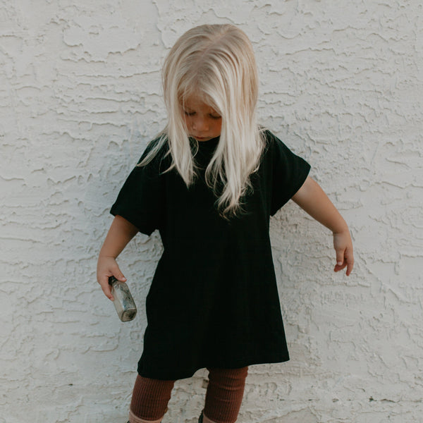 Daily Ribbed T Shirt Dress (Black)