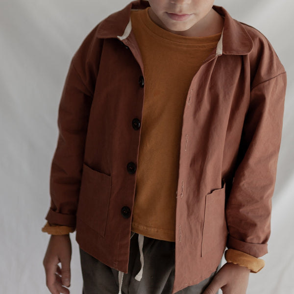 Button Down Shirt Jacket (Rust)