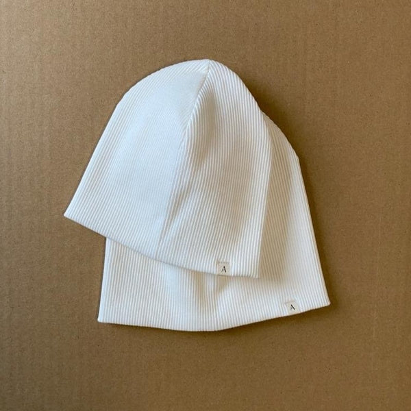 Cotton Ribbed Beanie Hat (White)