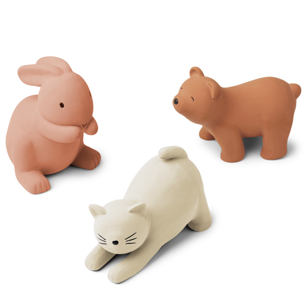 David Rubber Animal Toys 3 Pack (Rose Multi Mix)