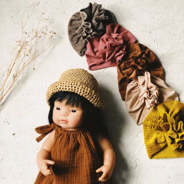 Knotted Turban Hat for Miniland Doll (Mocha Velvet)