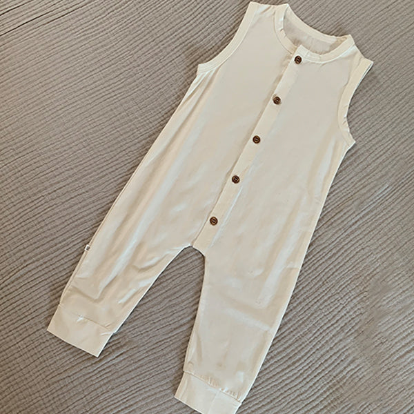 Huck Sleeveless Button Romper Suit (White)