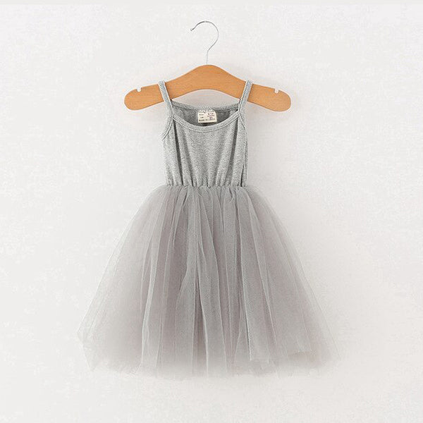 baby childrens vest style cotton and net tutu dress in grey or black