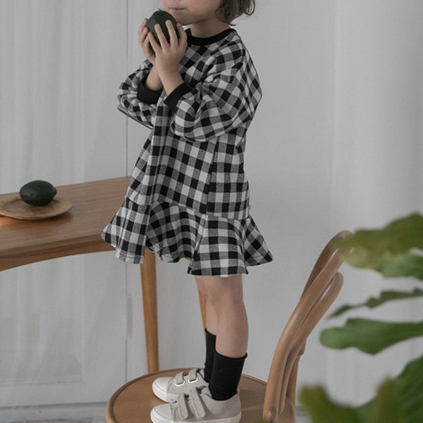 Girls Summer Dress - This eye-catching design, in light woven cotton check with contrast stretchy cuffs, is the perfect dress for summer. We just love the cut which includes modern balloon feature sleeves and a drop waist with frill skirt