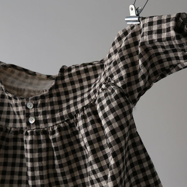 Isabella Check Button Dress