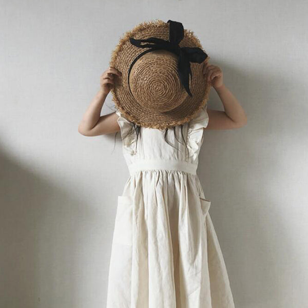 white frill sleeve girls and baby dress in cotton linen with pockets