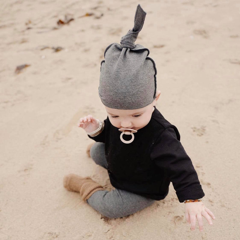 Cotton Knotted Hat (Dark Grey)