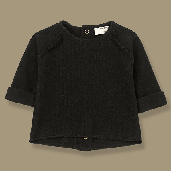 Napoli Soft Knit Feature Back Top (Black)