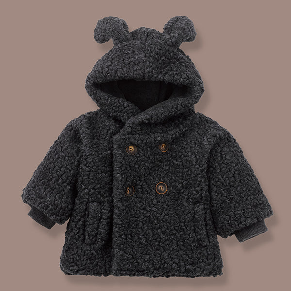 Ottawa Polar Teddy Hooded Coat (Black)