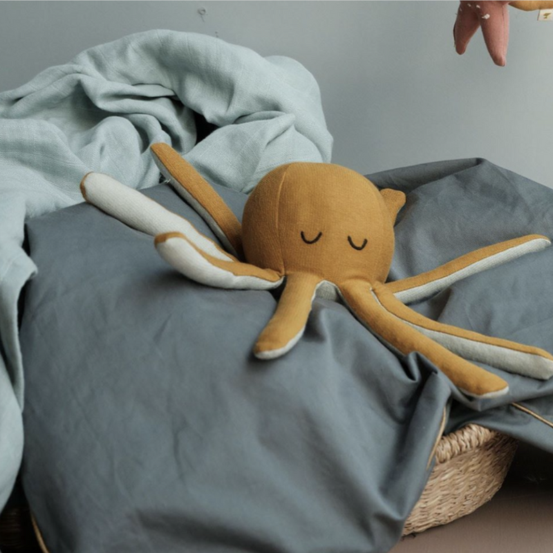 Soft Ochre Octopus Rattle Toy