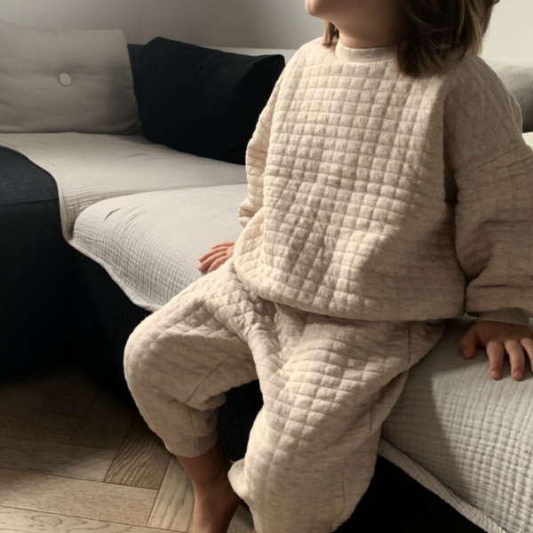 Cube Sweatshirt Top & Bottom Set (Oatmeal)