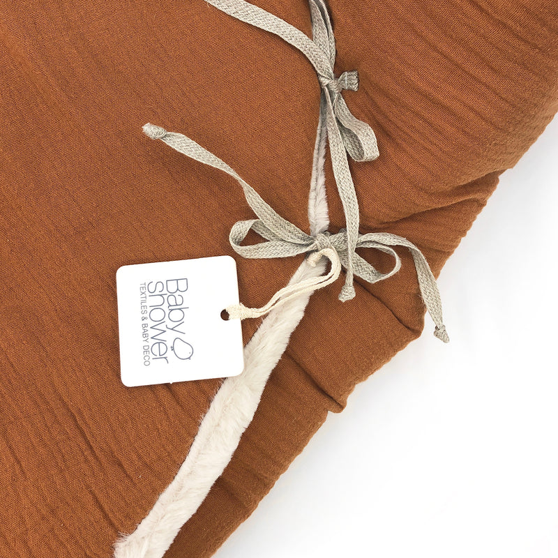 Bear Fleece Organic Cotton Nest with Harness Openings (Toffee)