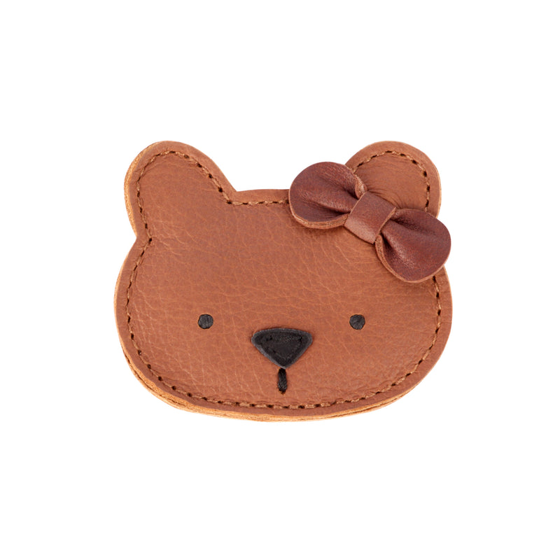 Josy Leather Bow Bear Hair Clip