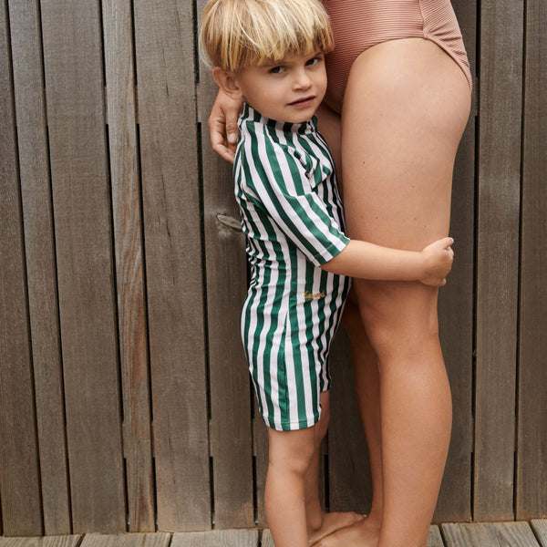 Max Swim Jumpsuit Seersucker (Tuscany Rose/Sandy Stripe)