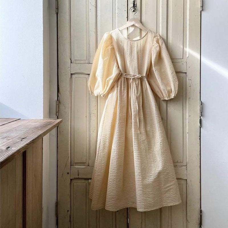 MAMA Lia Puff Sleeve Dress (Buttercup)