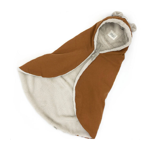 Bear Ear Fleece Organic Cotton Wrap Blanket (Toffee)