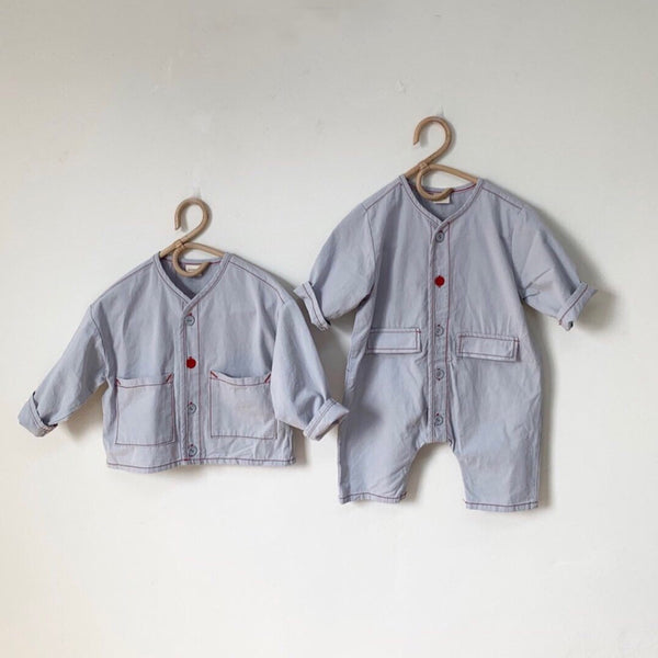 Bertie Button Romper Overalls (Blue)