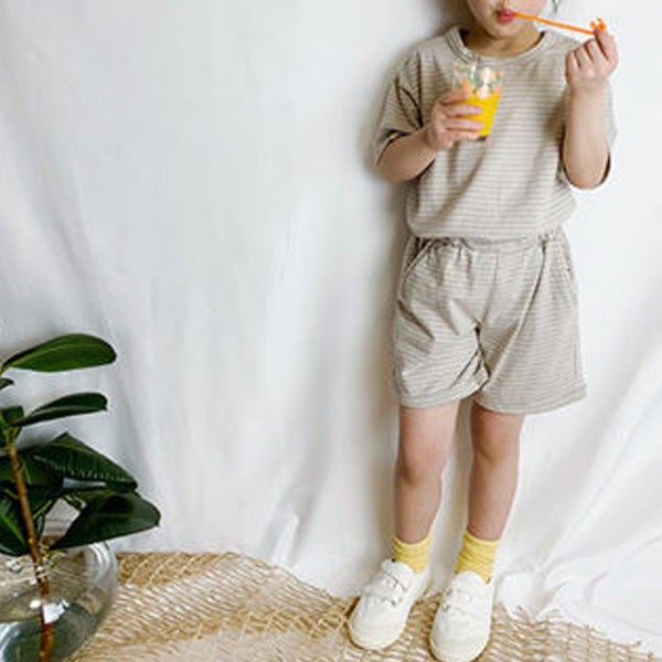 Boo Stripe Simple Summer Set (Beige Stripe)