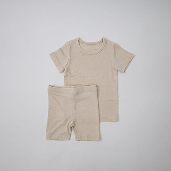 Long Line Rib T-Shirt and Bicycle Shorts Set (Beige)