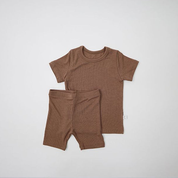 Long Line Rib T-Shirt and Bicycle Shorts Set (Mocha)