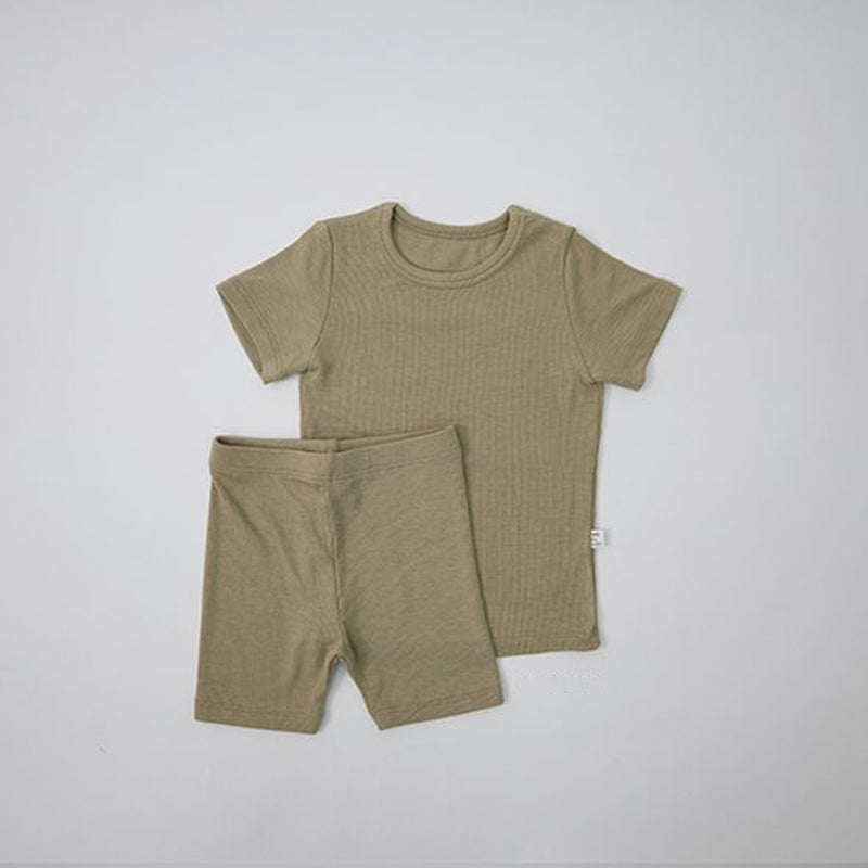 Long Line Rib T-Shirt and Bicycle Shorts Set (Olive)