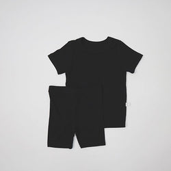 Long Line Rib T-Shirt and Bicycle Shorts Set (Black)