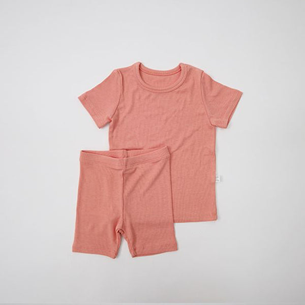 Luxury T-Shirt and Shorts Rib Set (Coral)