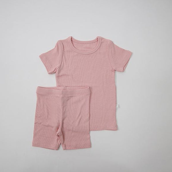 Luxury T-Shirt and Shorts Rib Set (Pink)