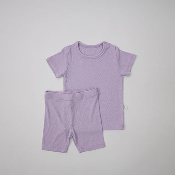 Luxury T-Shirt and Shorts Rib Set (Violet)