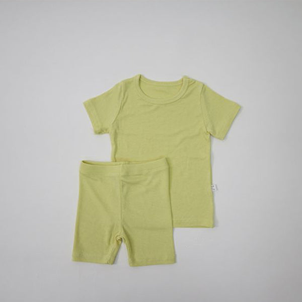 Luxury T-Shirt and Shorts Rib Set (Yellow)
