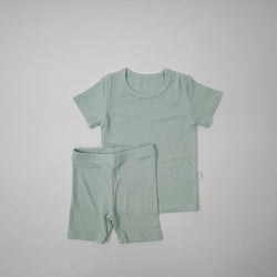 Long Line Rib T-Shirt and Bicycle Shorts Set (Mint)