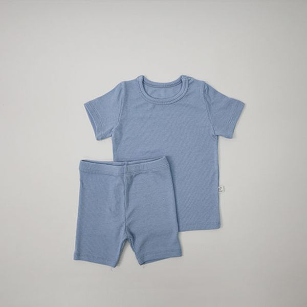 Long Line Rib T-Shirt and Bicycle Shorts Set (Sky Blue)