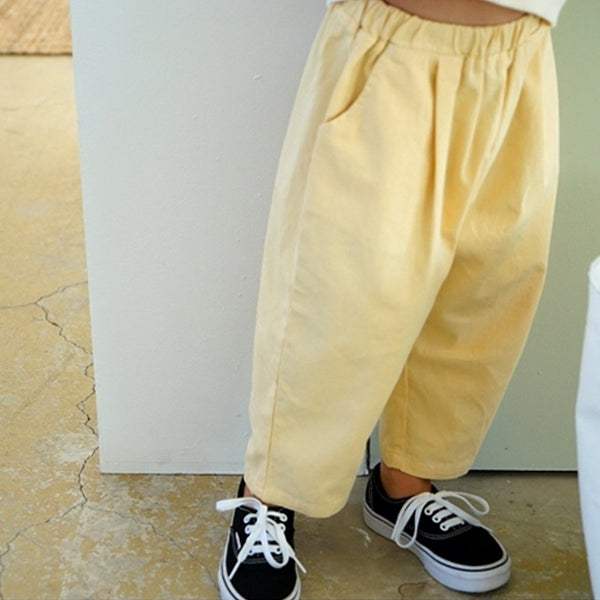 yellow lemon kids baby unisex girls and boys summer cotton chino trousers modern elasticated waist